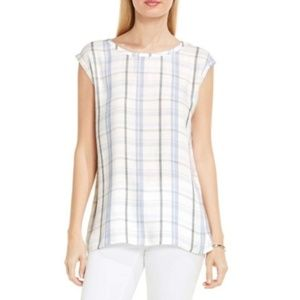 🌵Two by Vince Camuto Plaid Pathway Split Back Top